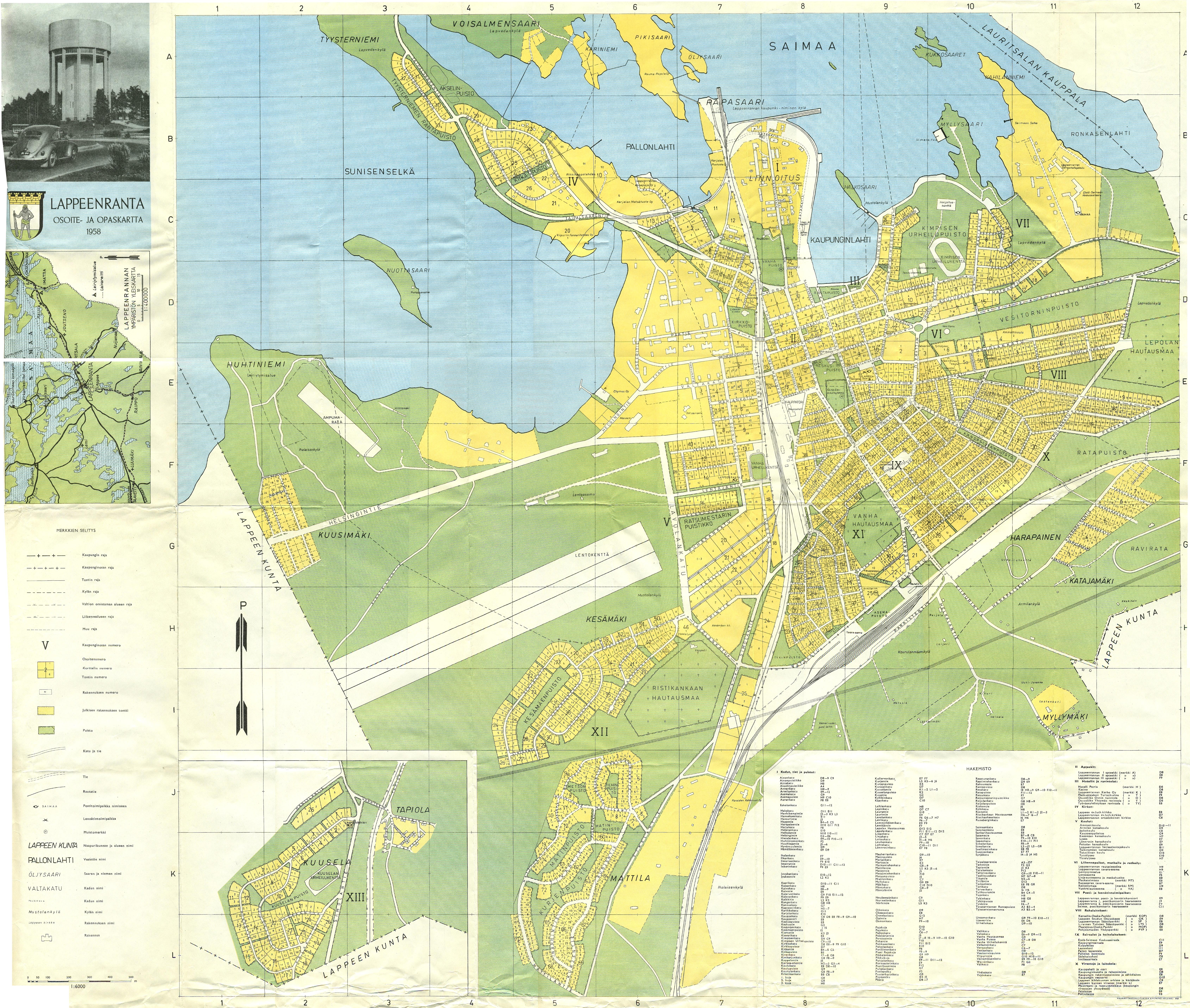 Lappeenrantaopaskartta 1958