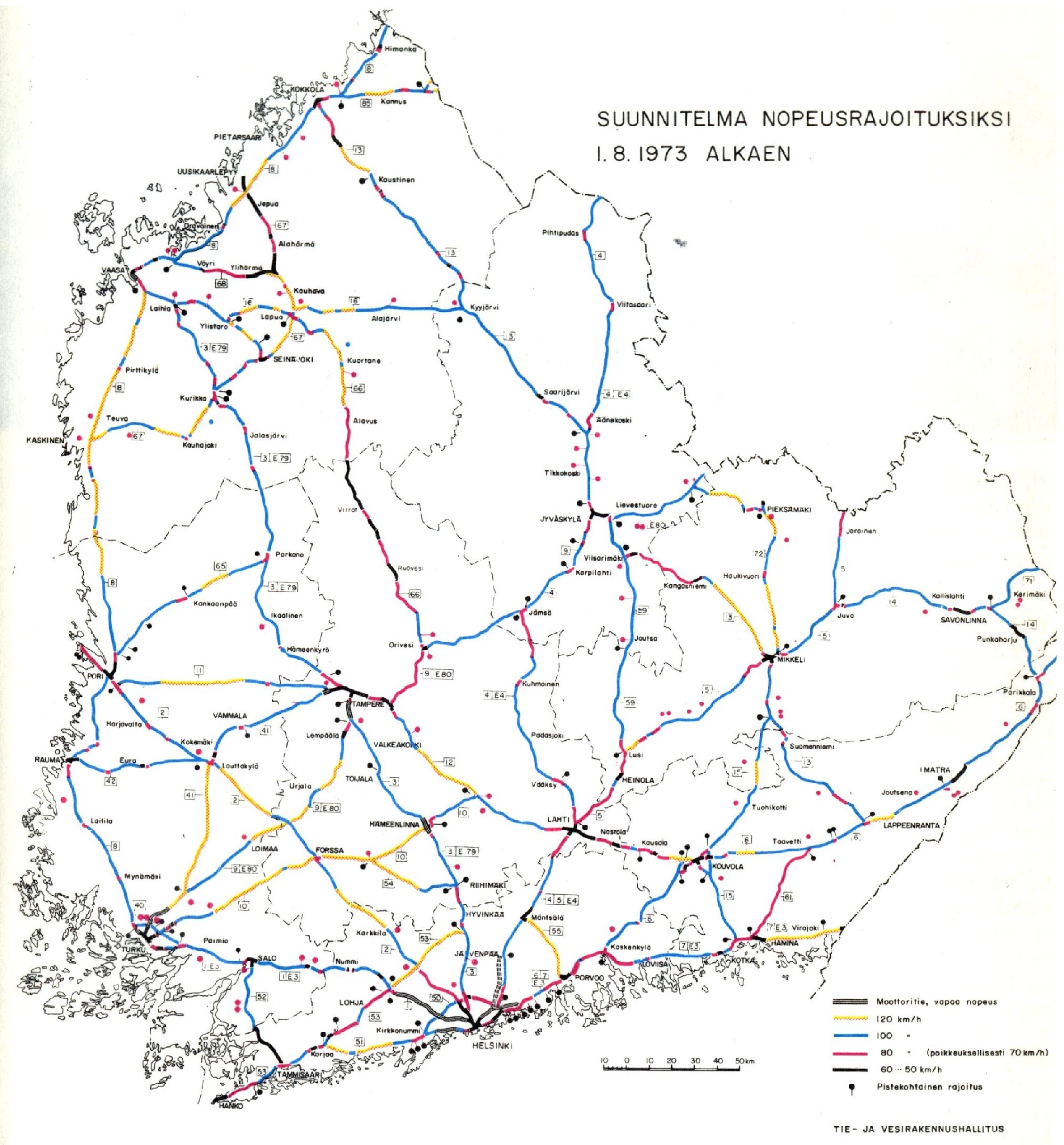 Suunnitelma Nopeusrajoituksiksi 1 8 1973 Alkaen Suomi